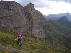 crossing around Mt Gould, rocky face of the Minotaur behind
