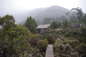 the hut at Newgate Tarn, TAS