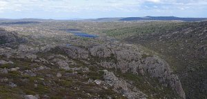 looking towards Long Tarns, with the Pine forests where we camped on the right. Fisher River Valley in bottom right