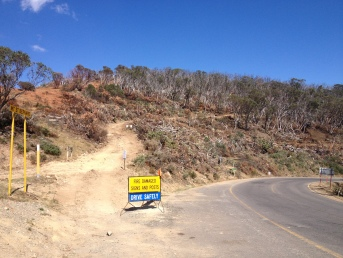 at the Alpine rd / Dargo rd junction, Jan 2013