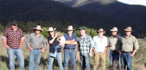 Environment Minister Ryan Smith with mountain cattle graziers, Wonnangatta Valley. source: MCAV
